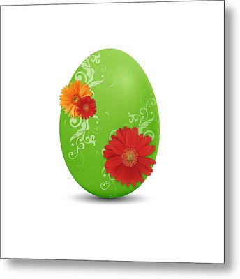 Green Easter Egg Metal Print by Aged Pixel