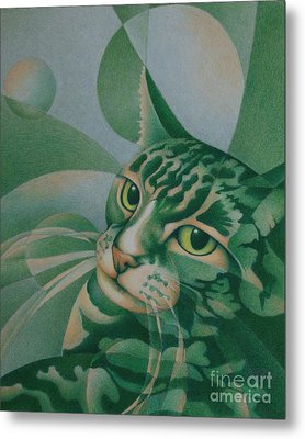 Metal Print featuring the painting Green Feline Geometry by Pamela Clements