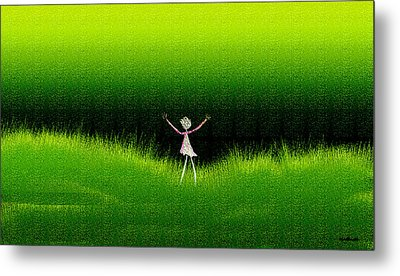 Green Field Metal Print by Asok Mukhopadhyay