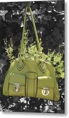 Green Flower Bag Metal Print by Sebastian Mathews Szewczyk