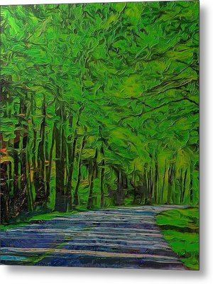 Green Forest Drive On Metal Metal Print by Dan Sproul