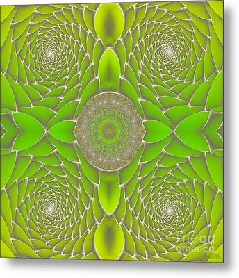 Green Fractal Jewel Metal Print by Hanza Turgul