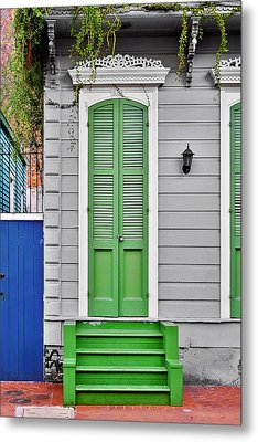 Green Front Door New Orleans Metal Print by Christine Till