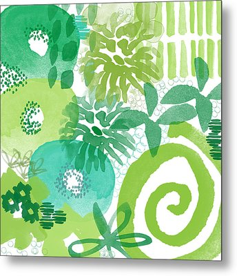 Green Garden- Abstract Watercolor Painting Metal Print by Linda Woods
