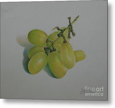 Metal Print featuring the painting Green Grapes by Pamela Clements
