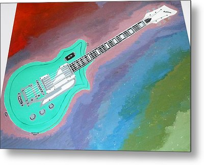 Metal Print featuring the painting Green Guitar by Magdalena Frohnsdorff