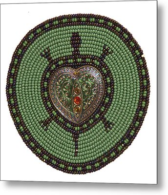 Green Heart Turtle Metal Print