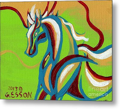 Green Horse Metal Print by Genevieve Esson