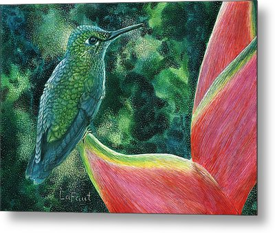 Green Hummingbird Metal Print by Sandra LaFaut