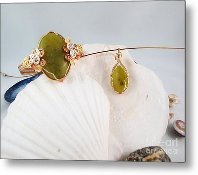 Green Jade Necklace And Bracelet Set Metal Print by Vivian Martin