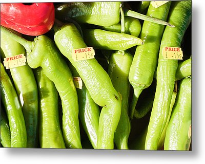 Green Jalpeno Peppers Metal Print by Tom Gowanlock