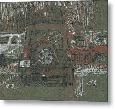 Metal Print featuring the painting Green Jeep by Donald Maier