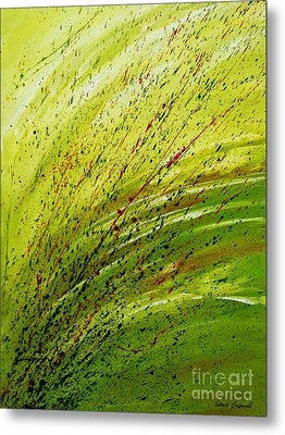 Metal Print featuring the painting Green Landscape - Abstract Art  by Ismeta Gruenwald