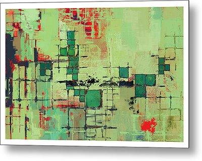 Green Lattice Abstract Art Print Metal Print by Karyn Lewis Bonfiglio