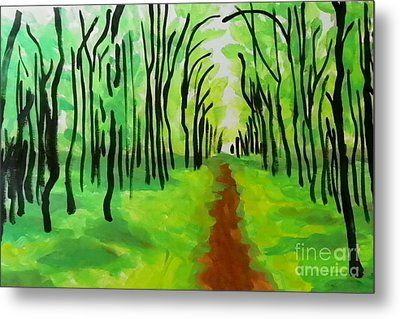 Metal Print featuring the painting Green Leaves by Marisela Mungia