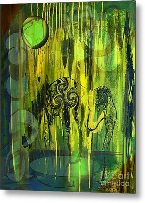 Metal Print featuring the painting Green Light by Yul Olaivar