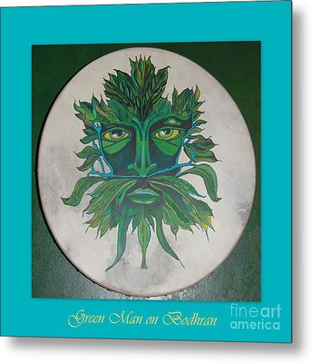 Metal Print featuring the painting Green Man On Bodhran by Linda Prewer