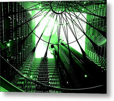 Metal Print featuring the photograph Green Marriott Marque by Cleaster Cotton