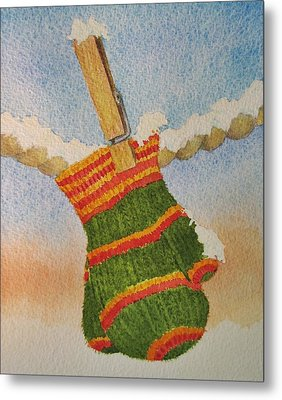 Green Mittens Metal Print by Mary Ellen Mueller Legault