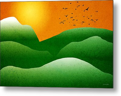 Green Mountain Sunrise Landscape Art Metal Print by Christina Rollo
