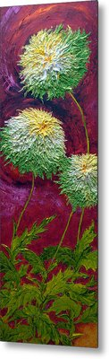 Green Mums Metal Print by Paris Wyatt Llanso