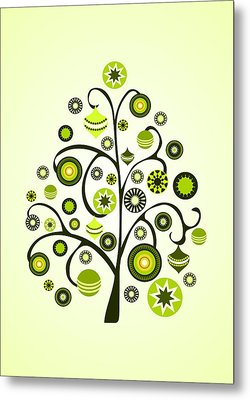 Green Ornaments Metal Print by Anastasiya Malakhova