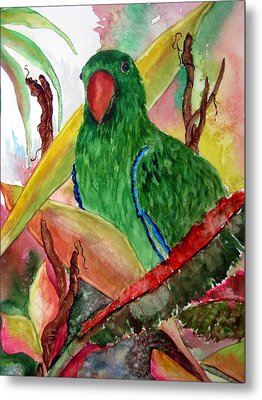 Metal Print featuring the painting Green Parrot by Lil Taylor