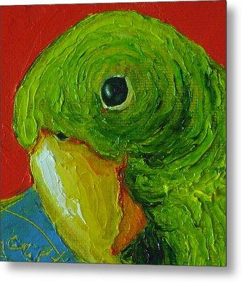 Green Parrot Metal Print by Paris Wyatt Llanso