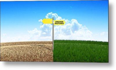 Green Pastures Sign Metal Print by Allan Swart