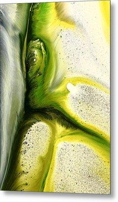Green Peacock Feather Abstract Wall Art By Kredart Metal Print