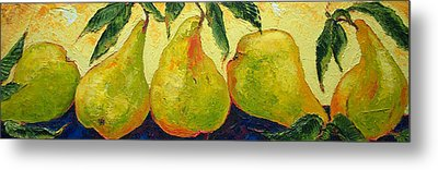 Green Pears In A Row Metal Print by Paris Wyatt Llanso