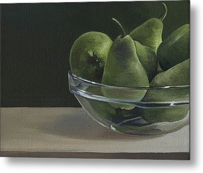 Metal Print featuring the painting Green Pears by Natasha Denger
