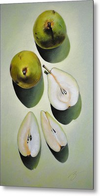 Metal Print featuring the pastel Green Pears - Pastel by Ben Kotyuk