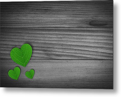 Green Pedal Shaped Hearts Metal Print by Aged Pixel