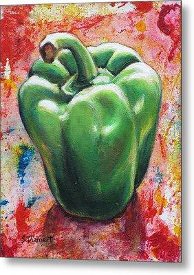 Green Pepper Metal Print by Sheila Diemert
