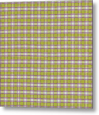 Green Pink And White Plaid Design Fabric Background Metal Print