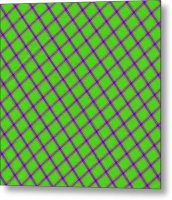 Green Pink Blue Plaid Fabric Background Metal Print
