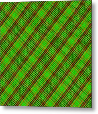 Green Red And Black Diagonal Plaid Cloth Background Metal Print