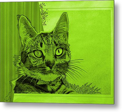 Green Sanguine ... Abstract Cat Art Painting Metal Print by Amy Giacomelli