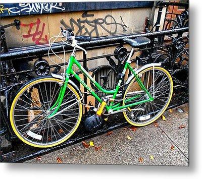 Green Schwinn Bike  Nyc Metal Print by Joan Reese
