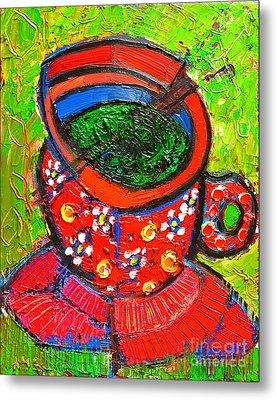 Green Tea In Red Cup Metal Print by Ana Maria Edulescu