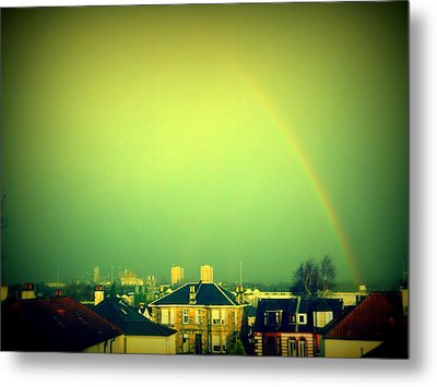 Green Tinted Sky With Rainbow Metal Print