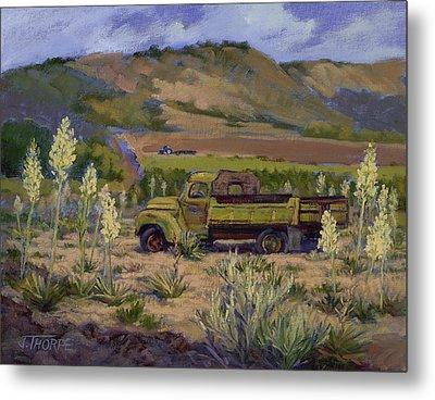 Green Truck- Blooming Yuccas Metal Print by Jane Thorpe