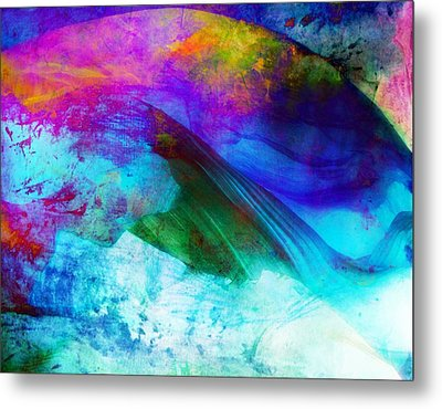 Metal Print featuring the painting Green Wave - Vibrant Artwork by Lilia D