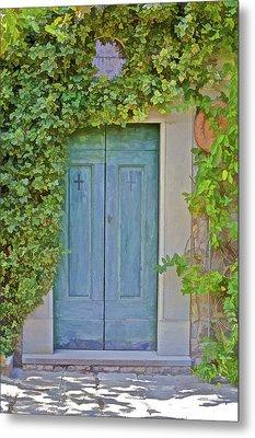 Green Wood Door Of Tuscany Metal Print