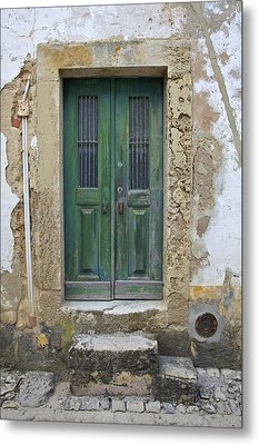 Green Wood Door With Hand Carved Stone In The Medieval Village Of Obidos Metal Print by David Letts