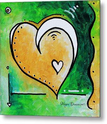 Green Yellow Heart Love Painting Pop Art Peace By Megan Duncanson Metal Print