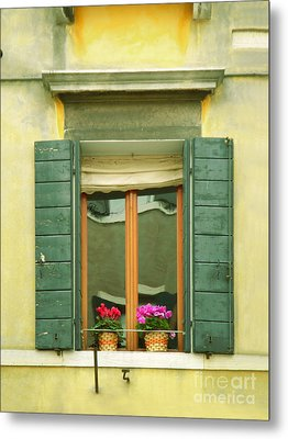 Green Yellow Venice Series Shutters Metal Print