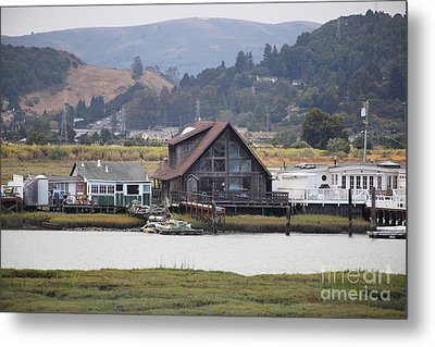 Greenbrae California Boathouses At The Base Of Mount Tamalpais 5d29347 Metal Print by Wingsdomain Art and Photography