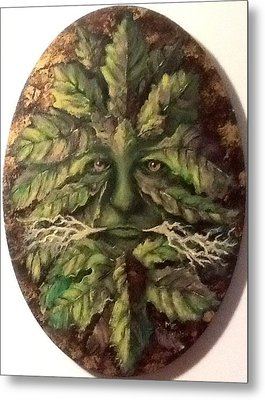 Metal Print featuring the painting Greenman by Megan Walsh